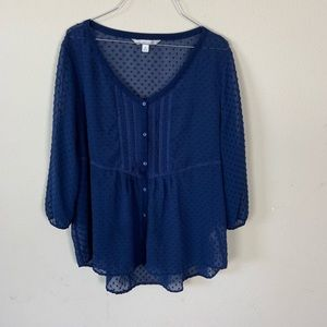 Lauren Conrad LC navy blue blouse with Swiss dots